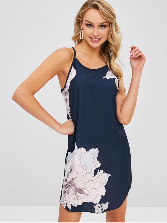 fancy Floral Print Spaghetti Strap Mini Dress - DARK SLATE BLUE M