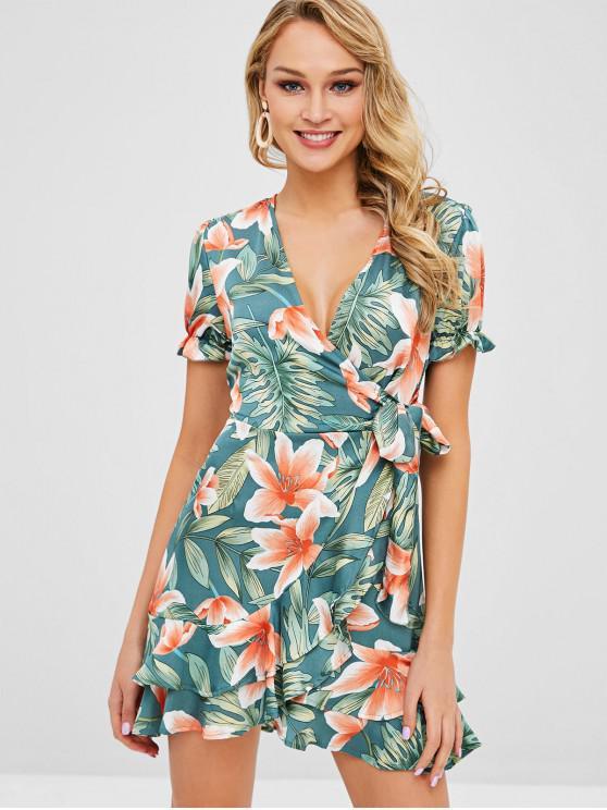 fashion Floral Print Ruffles Knotted Dress - MULTI L