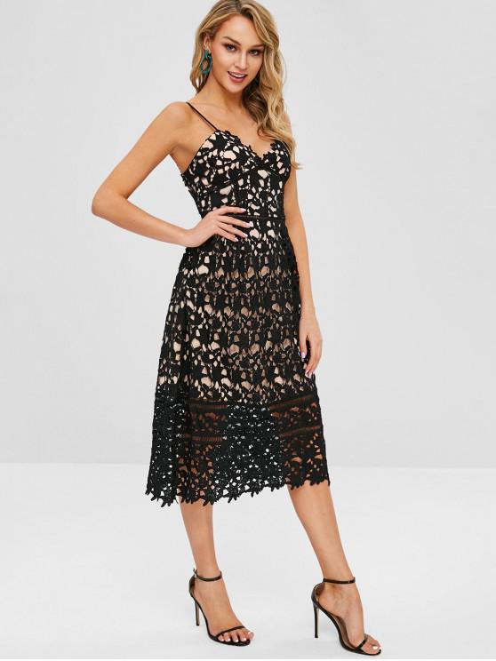 women High Waist Openwork Cami Dress - BLACK M