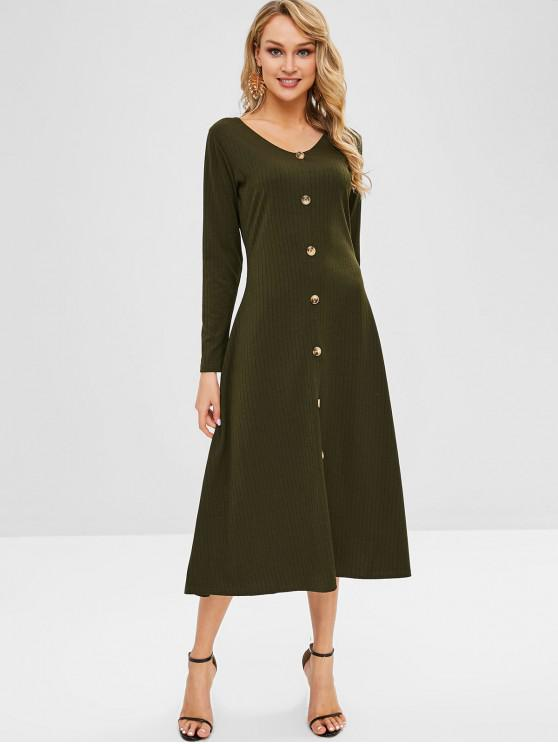 women's Button Up V Neck Solid Dress - ARMY GREEN L