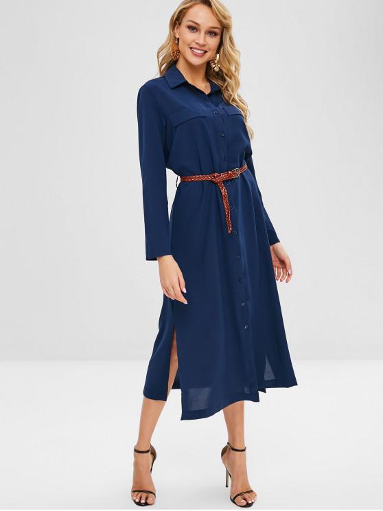 new Faux Pockets Slits Belted Maxi Dress - DEEP BLUE S