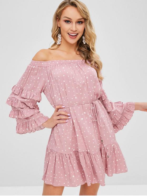 Fora do ombro vestido de bolinhas com cinto - Rosa S