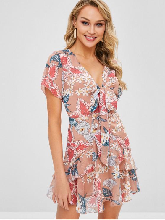 Laço de impressão floral frente um vestido de linha - Multi L