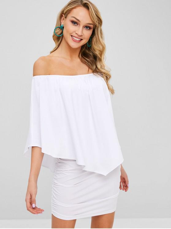 Fora do ombro vestido de sobreposição ruched - Branco L
