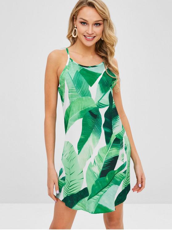 Folhas de impressão mini vestido de cami - Verde S