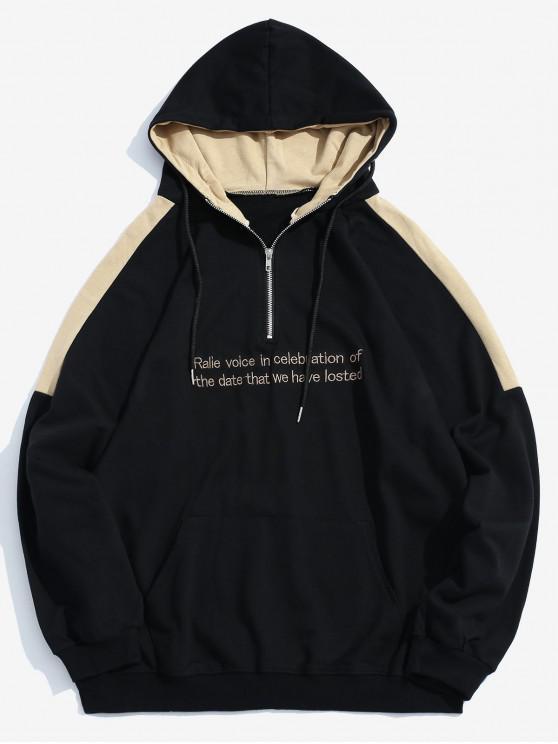 Sudadera con capucha bordada de contraste - Negro L