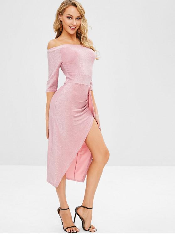 fancy Glitter Off Shoulder Slit Cocktail Dress - PINK M