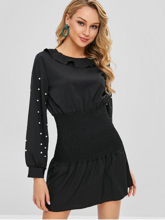 sale Smocked Beading Faux Pearl Short Dress - BLACK S