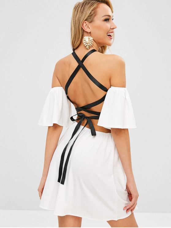 hot Open Shoulder Mini Criss Cross Dress - WHITE XL