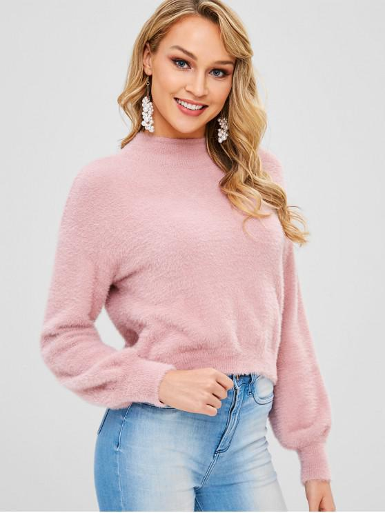 affordable Lantern Sleeves Mock Neck Fluffy Sweater - PINK S