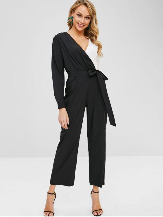 sale Two Tone Knotted Wide Leg Jumpsuit - BLACK S