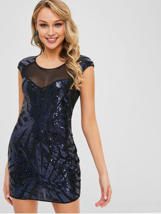 Vestito Aderente Con Paillettes E Pannello In Tulle - blu scuro S