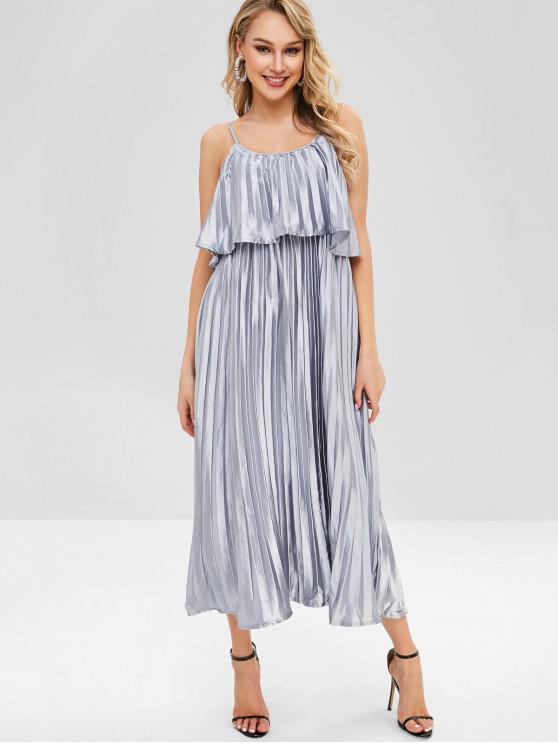 Shiny plissado vestido de sobreposição de cami - Prata L