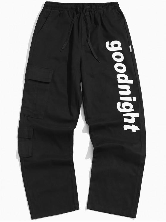 fashion Letter Flap Pockets Casual Pants - BLACK M