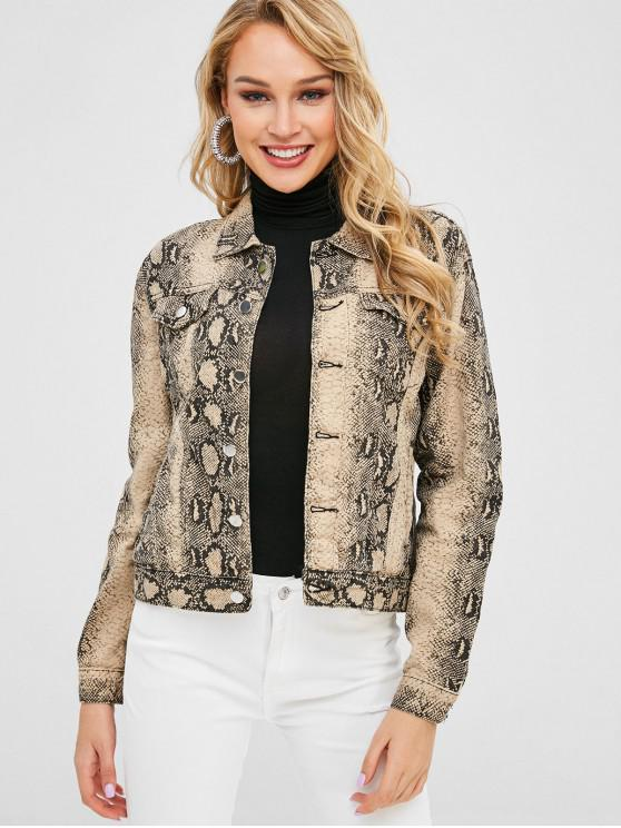 affordable Button Up Snake Print Pocket Jacket - MULTI M