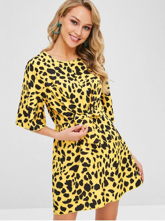 trendy Tie Front Leopard Print Mini Dress - YELLOW S