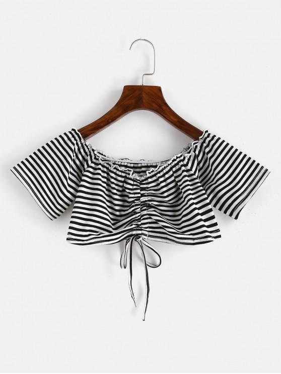 affordable Off Shoulder Cinched Striped Tee - BLACK L