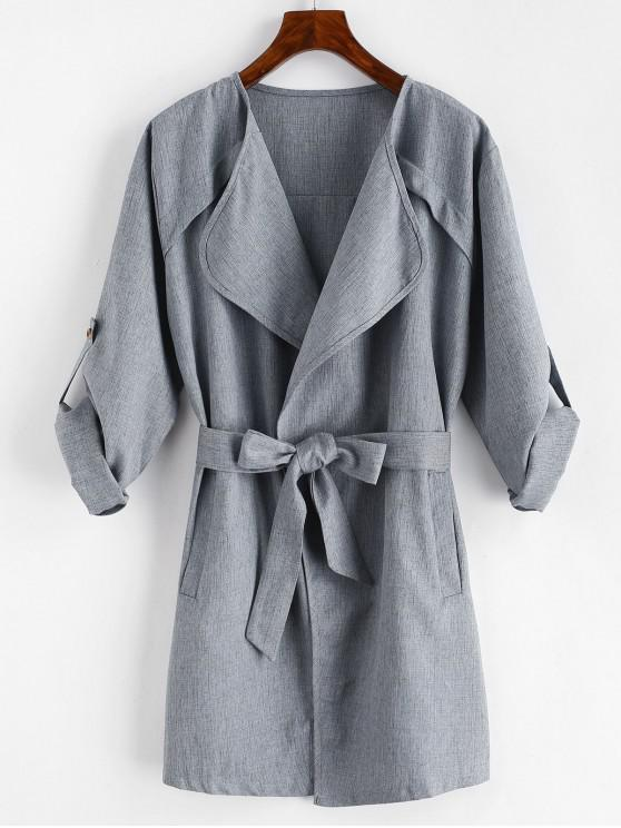 women Plain Draped Belted Coat - GRAY XL