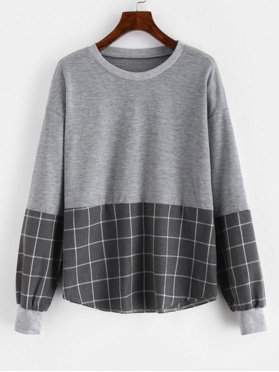 shop Drop Shoulder Loose Checkered Sweatshirt - GRAY L