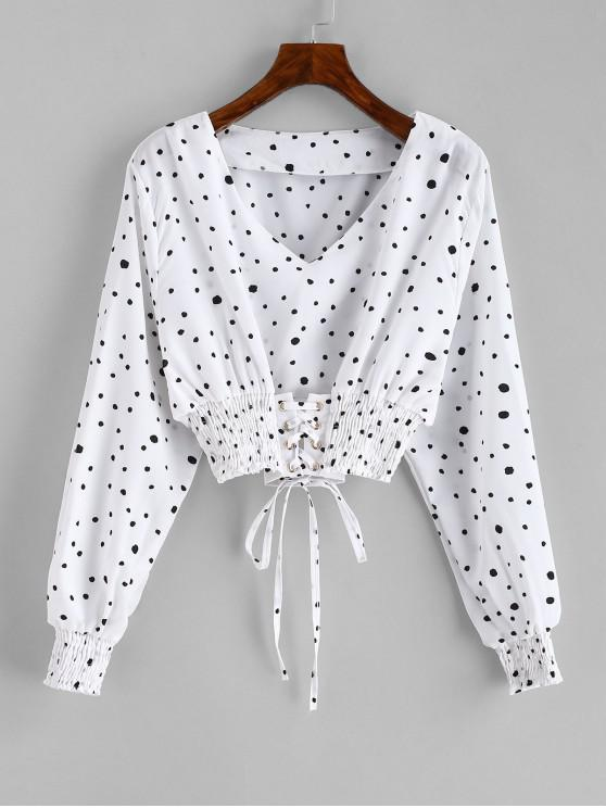 Blusa Smocked Lace Up Polka Dot Crop - Blanco XL