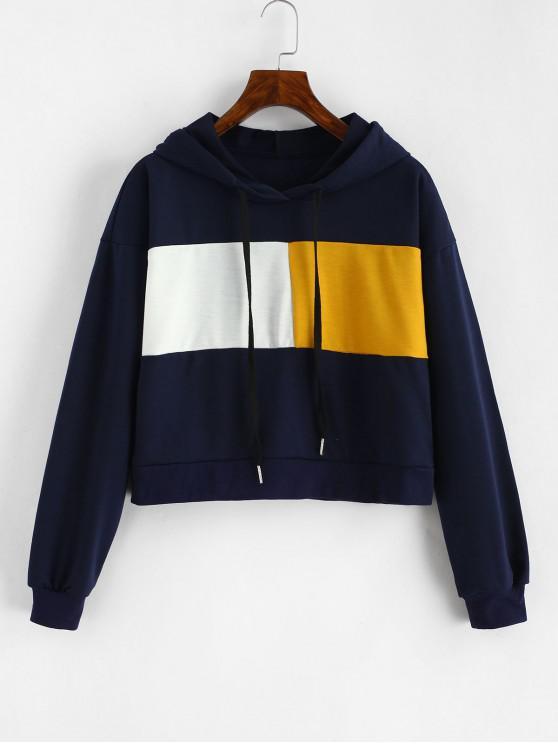 sale Drawstring Cropped Color Block Hoodie - MULTI M