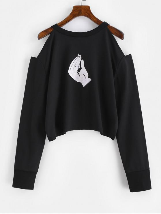 outfits Gesture Graphic Cold Shoulder Sweatshirt - BLACK S