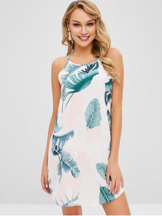 Folhas Imprimir Shift Cami Dress - Branco S