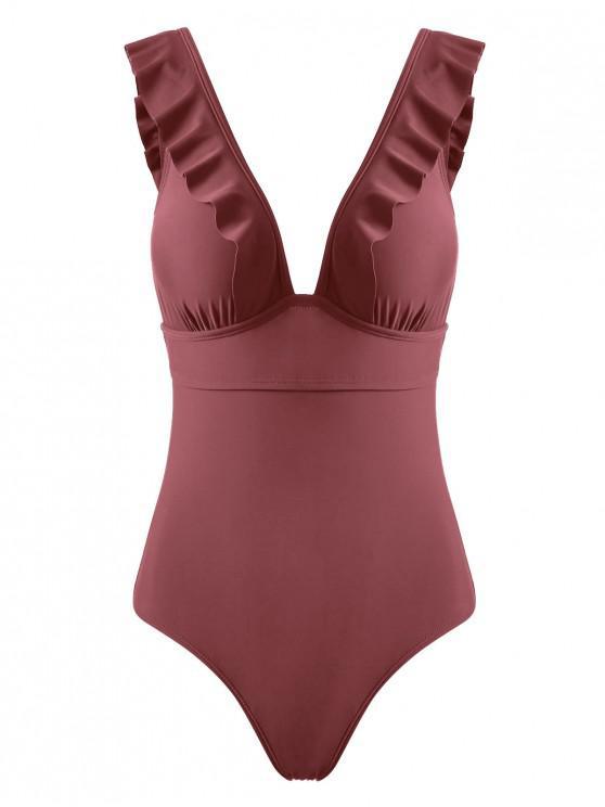 Ruffles Back Lace Up Swimsuit de uma peça - Castanha Vermelha M