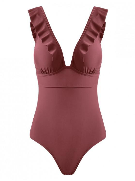 buy Ruffles Back Lace Up One-piece Swimsuit - CHESTNUT RED L