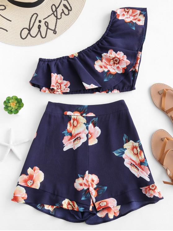 lady ZAFUL One Shoulder Top and  Shorts Two Piece Set - DEEP BLUE S
