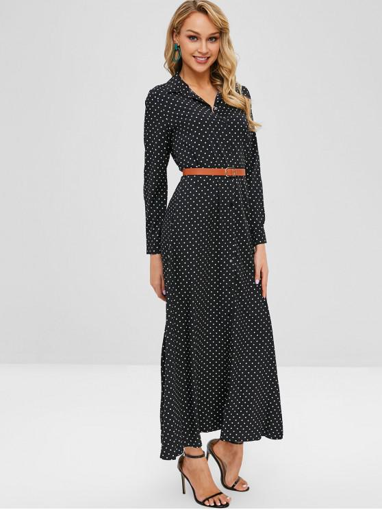 lady Button Up Polka Dot Belted Maxi Dress - BLACK M