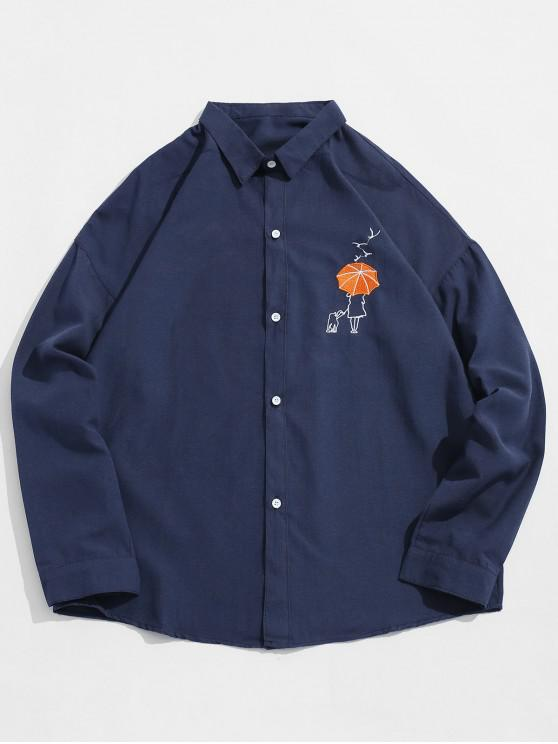 outfits Umbrella Embroidered Button Fly Shirt - CADETBLUE XL