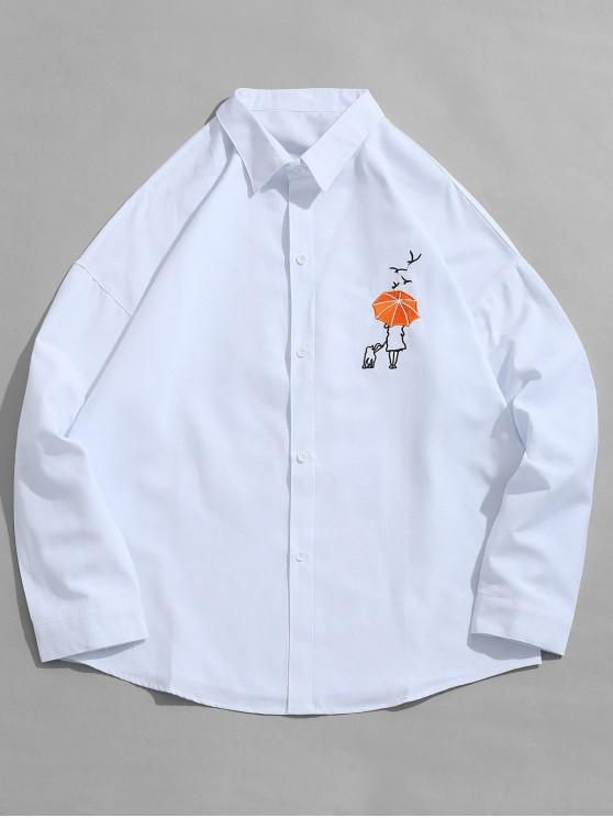 outfit Umbrella Embroidered Button Fly Shirt - WHITE 2XL