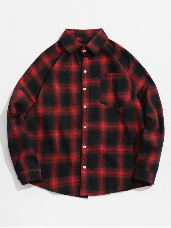 shops Drop Shoulder Plaid Shirt with Pocket - RED M