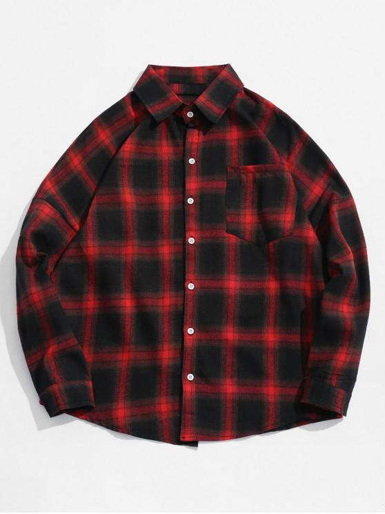 affordable Drop Shoulder Plaid Shirt with Pocket - RED L