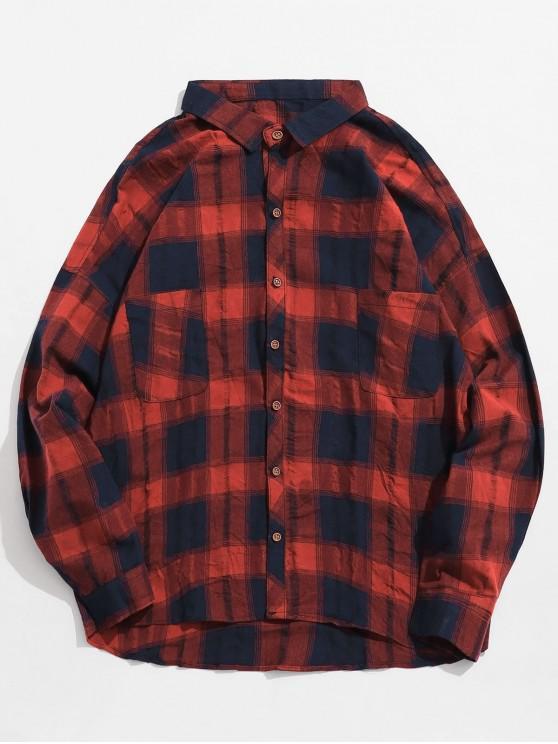 women's Double Pockets Drop Shoulder Plaid Shirt - RED L