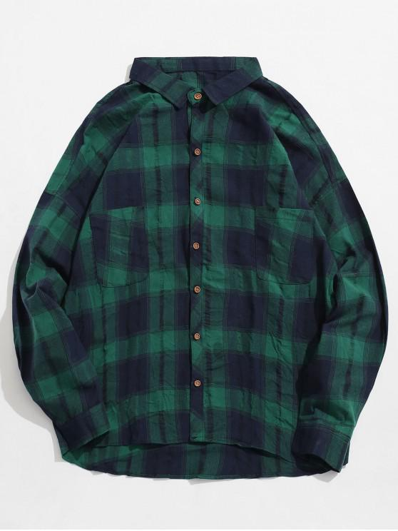 shops Double Pockets Drop Shoulder Plaid Shirt - GREEN XL