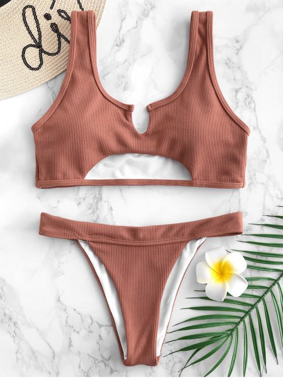 fancy ZAFUL Ribbed Cutout Bikini Set - ORANGE SALMON M