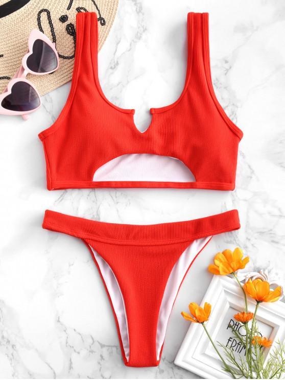 trendy ZAFUL Ribbed Cutout Bikini Set - BRIGHT ORANGE M