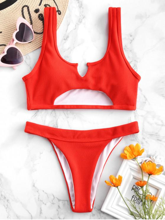 fashion ZAFUL Ribbed Cutout Bikini Set - BRIGHT ORANGE L