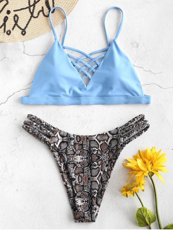 Bikini con estampado de serpiente trenzado y celosía de ZAFUL - Azul Denim M