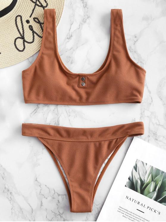 women's ZAFUL Ribbed Button Embellished Bikini Set - ORANGE SALMON L