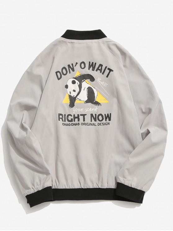 women's Panda Graphic Bomber Jacket - LIGHT GRAY 3XL