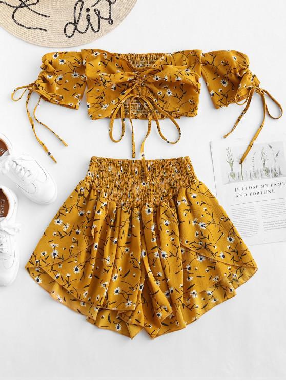 ladies Zaful Off Shoulder Cinched Floral Set - GOLDEN BROWN M