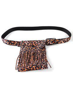 Leopard Pattern Tassel Fanny Pack Belt - Light Brown