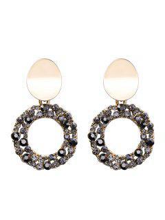 Circle Shape Rhinestone Embellished Earrings - Gold
