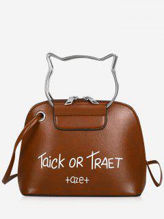 Cat Head Shape Character Pattern Handbag Belt Crossbody Bag - Light Brown