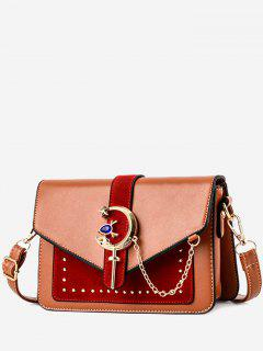 Crescent Pattern Joint Leather Square Crossbody Bag - Orange Gold