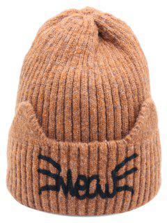 Woolen Knitted Winter Letter Pattern Hat - Brown