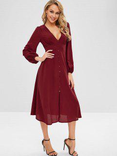 ZAFUL Plunge A Line Long Sleeve Dress - Red Wine L